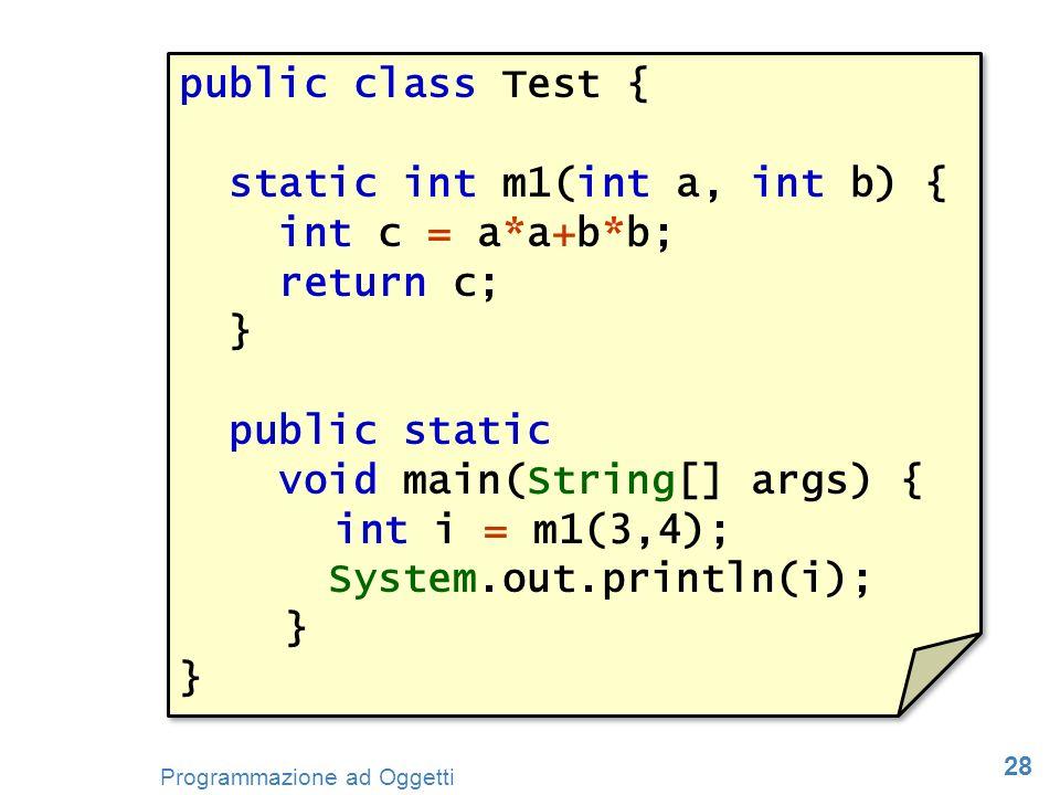 public class Test { static int m1(int a, int b) { int c = a*a+b*b; return c; } public static void main(String[] args) {